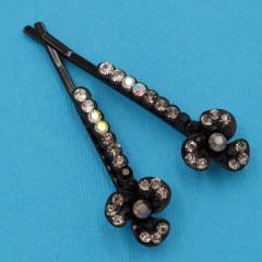 Невидимки для волос 2 шт черный металл цветочек с