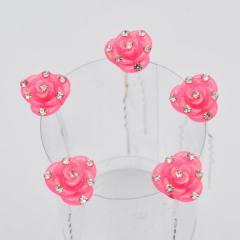 Шпильки для волос 5 шт Розовая Роза