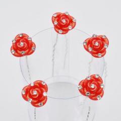 Шпильки для волос 5 шт Красная Роза