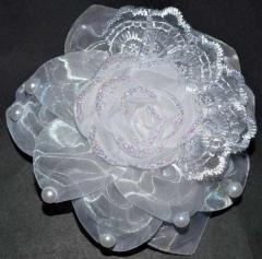 Бант на резинке 2шт белый, роза, кружево