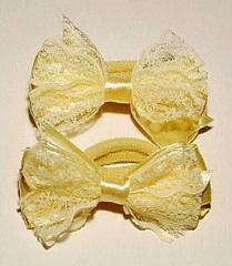 Резинка для волос, бант кружево, желтый (2 шт)