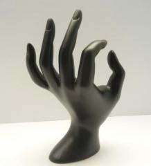 Подставка под кольца-рука,цвет черный, керамика,