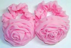 Резинка для волос, розовый шифон, роза 6,5 см,