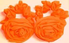 Резинка для волос, оранжевый шифон, роза 6,5 см,
