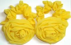 Резинка для волос, желтый шифон, роза 6,5 см,