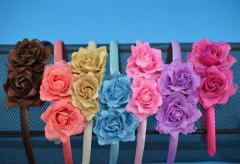 Обруч розы цветной атлас (6 шт) органза, блестки,