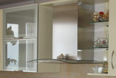 Glass facades for cabinet furniture, kitchens