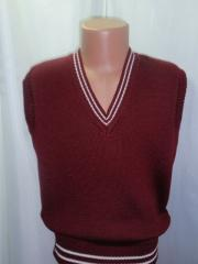 Vest knitted knitted p/sh for the school studen