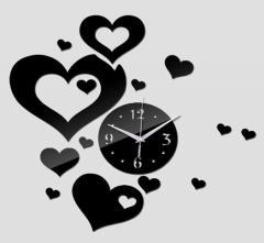 Настенные 3Д часы черные сердечки