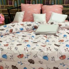 Комплект постельного белья Розовый с листьями