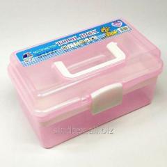 Средняя пластиковая тара (чемоданчик, контейнер, органайзер) для рукоделия и шитья (НП-5664)