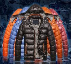 Брендовая модная зимняя пуховая куртка-парка для мужчин с капюшоном.