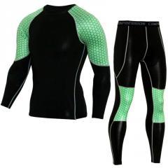 Мужской спортивный фитнес костюм с длинными рукавами для спорта.