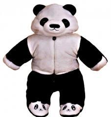 Бархатный теплый,  зимний комбинезон-(панда)...