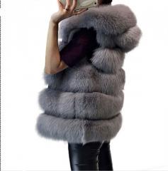 . Эксклюзивный, роскошный жилет для женщинс капюшоном из искусственного лисьего меха-(Британский стиль).