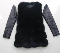 (2 в 1) жилет+куртка женская с натурального лисьего меха