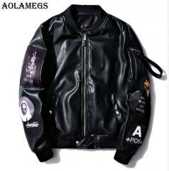 Модные кожаные куртки-(бомбер ма-1) с логотипом