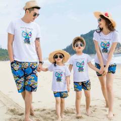 Летний семейный комплект футболка+ синие штаны.