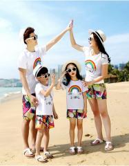 Пляжная одинаковая одежда для семьи-(Радуга)