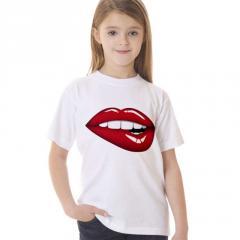 Модные детские футболки-(красные губы)