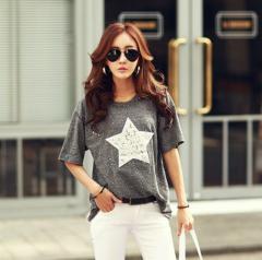 Хлопковая футболка-(Звезда) для женщин-усыпан