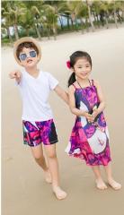 Летняя одежда для всей семьи-(платье на бретелях с короткими рукавами).