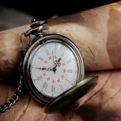 Бронзовые кварцевые карманные часы-(Польский Ретро Дизайн).
