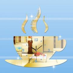 Большие акриловые настенные 3D часы-(Кофейная чашка).