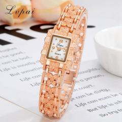 Женские золотые наручные часы (Lvpai) циферблат-прямоугольник.