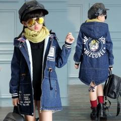Зимняя джинсовая куртка для девочек с...