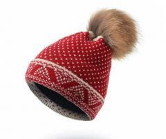 Женская зимняя шапка с семним помпоном