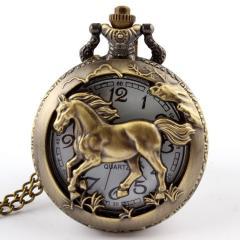Бронзовые карманные часы-(Лошадь).
