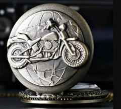 Бронзовые кварцевые карманные часы-(Мотоцикл )