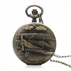 Бронзовые карманные часы с цепочкой-(самолет)