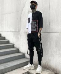 Мужские брюки (хип-хоп) карандаш с боковыми...