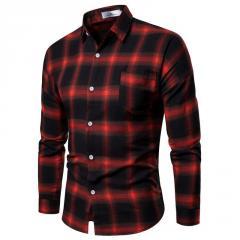 Мужская классическая рубашка в черно-красных тонах