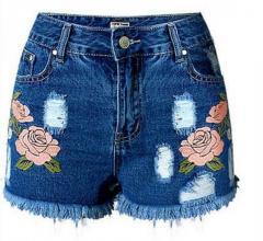 Женские шорты, вышивка с высокой талией джинсовые