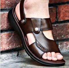 Мужские летнии брендовые сандалии из натуральный