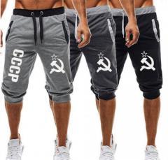 Летние мужские стильные шорты для спорта с надписю СССР.