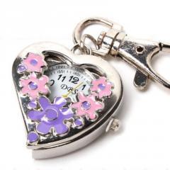 Женские кварцевые карманные часы-(Форма Сердце-цветы).