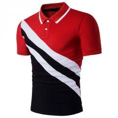Летняя мужская рубашка-полос v-образным вырезом
