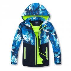 Детская куртка для мальчиков и девочек ветрозашитная с карасивым принтом