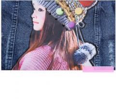 Детская джынсовая куртка для девочек с цветком