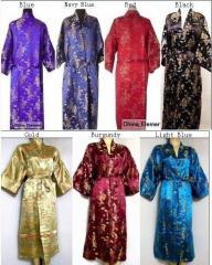 Модные золотые китайский халаты из шелка