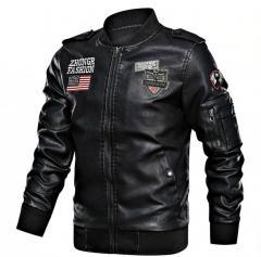 Байкерская кожаная куртка на молнии-мужская.