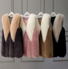 Брендовый теплый меховой жилет для женщин с...