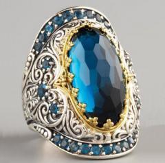 Мужской перстень с большим голубым камнем