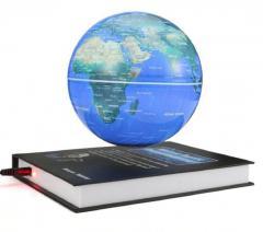 Ливитирующий глобус с картой мира с подставкой в виде книги