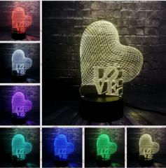 Ночной светильник с 3D моделями ILOVE YOU
