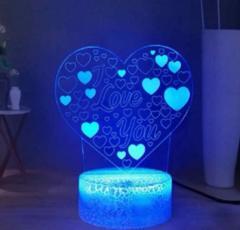 3D оптическая настольна лампа в форме сердца